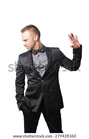 luxury man show stop with his is hand on white background  - stock photo