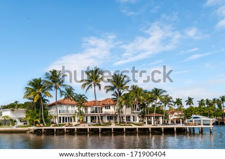 Luxury mansion in exclusive part of Fort Lauderdale known as small Venice - stock photo