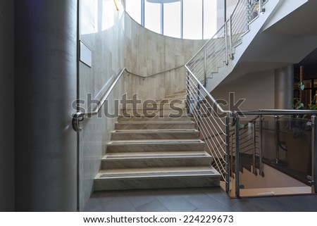 Luxury marble stairs in hotel lobby