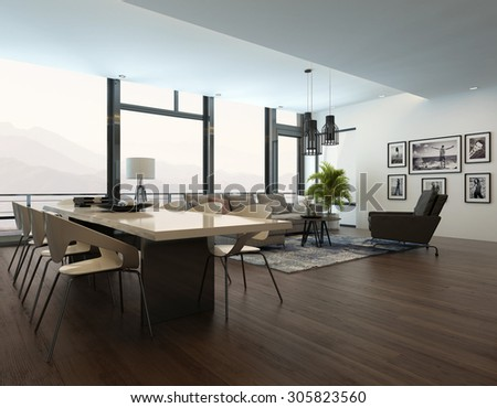 Luxury modern apartment living room interior with parquet floor, white dining table and a gray sofa with carpet. 3d Rendering.