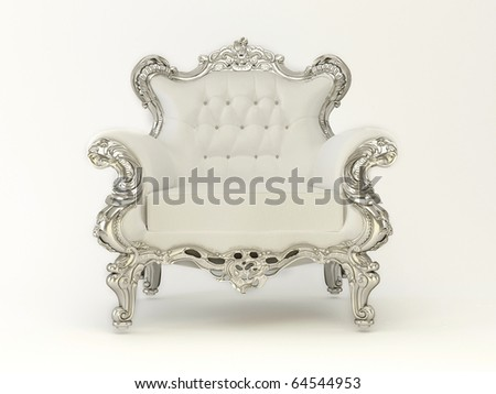 Luxury modern armchair with silver frame on the white background