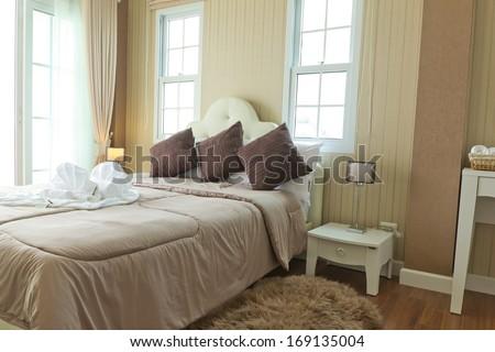 luxury modern  bedroom Interior - stock photo