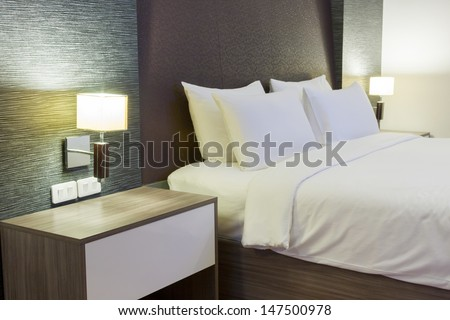 luxury modern hotel room, Bangkok, Thailand. - stock photo