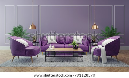 Luxury Modern Interior Of Living Room Ultraviolet Home Decor Concept Purple Sofa And Black
