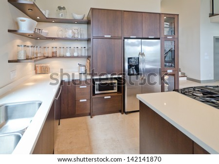Luxury modern kitchen. Interior design. - stock photo