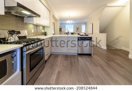 Luxury modern kitchen. Interior design. - stock photo