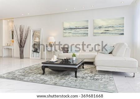 Luxury Modern Living Room - stock photo