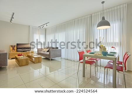Luxury Modern Living Room and Dining Room - stock photo