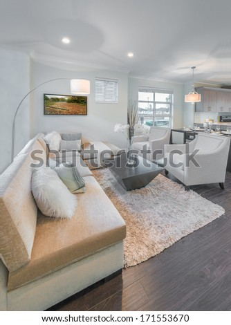 Luxury modern living suite, room with sofa and chairs. Interior design of a brand new townhouse. Vertical. - stock photo