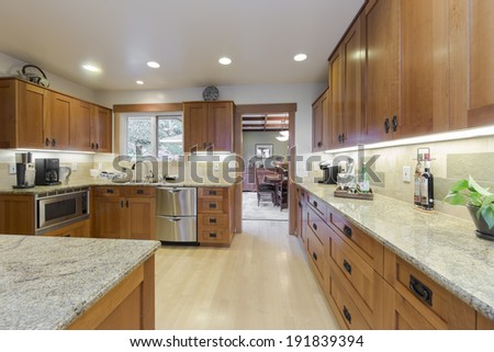 Luxury modern styled kitchen with wooden cabinets, stainless steel appliances and granite counter. - stock photo