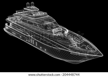 luxury motor yacht .  3D model body structure, wire model - stock photo