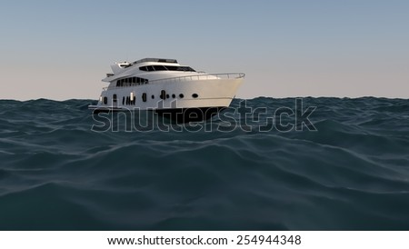 luxury motor yacht in the ocean - stock photo