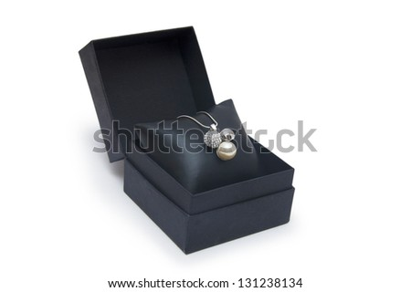 Luxury necklace in box - stock photo