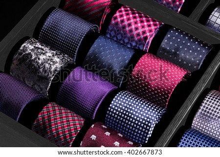 Luxury neckties on showcase at boutique