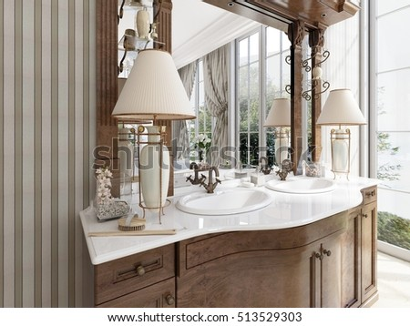 Luxury neoclassical furniture in modern style in the bathroom. Double vanity bathroom with two table lamps and shelves. 3D render.