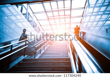 Luxury office buildings, indoor stairs - stock photo