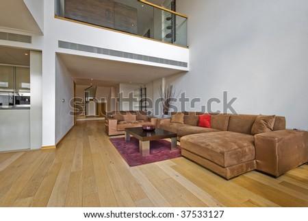 luxury open plan living room with atrium - stock photo
