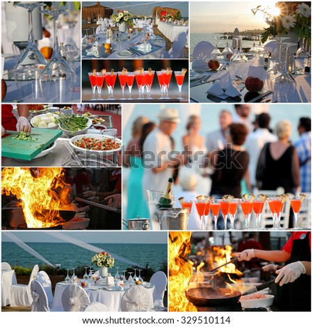Luxury Outdoor Reception. Collage of photographs showing outdoor party with people and cold chilled champagne in ice bucket and glasses of red cocktail, food preparation and elegant table setting. - stock photo