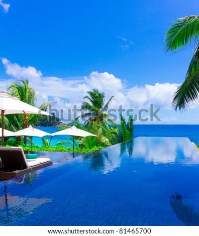 Luxury Palms Sea - stock photo
