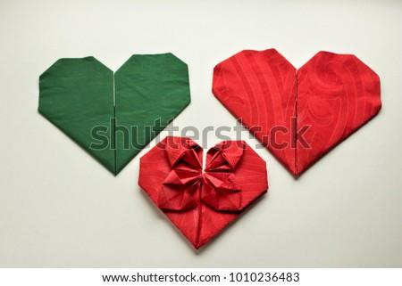 Luxury paper napkins folded heart shape stock photo edit now luxury paper napkins folded in heart shape on the white surfaceisolatedeen and mightylinksfo