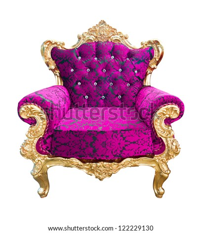 luxury pink and golden armchair isolated with clipping path - stock photo