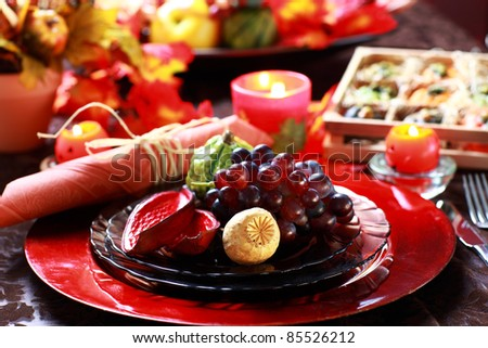 Luxury place setting for Thanksgiving