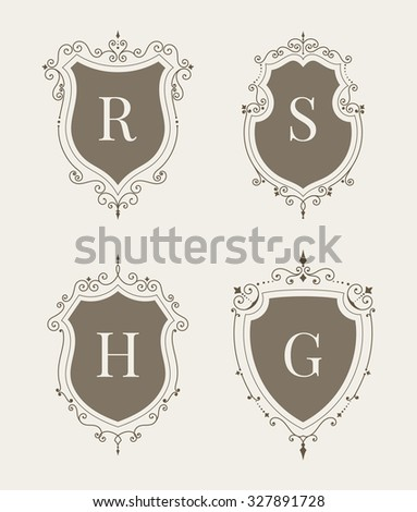 Luxury premium stylish decorative medieval heraldic shields set. Hotel, boutique, jewelry template. Wedding, invitation, logo design. Borders, frames, labels in retro style. Raster copy of vector file - stock photo