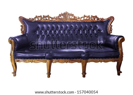 luxury purple leather armchair isolated