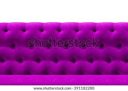 Luxury Purple sofa velvet cushion close-up pattern background on white - stock photo