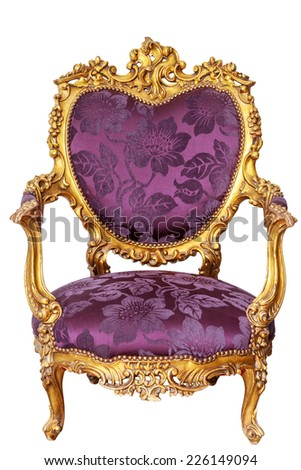 Luxury Purple Vintage Chair On White Background - stock photo