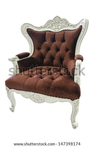 Luxury red chair isolated on white background. Clipping path in picture.