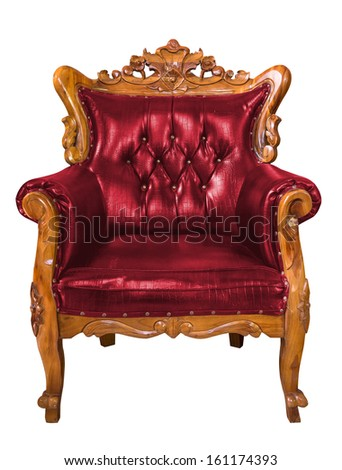 Luxury red leather armchair over the white background
