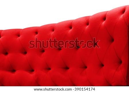 Luxury red sofa velvet cushion close-up pattern background on white  - stock photo