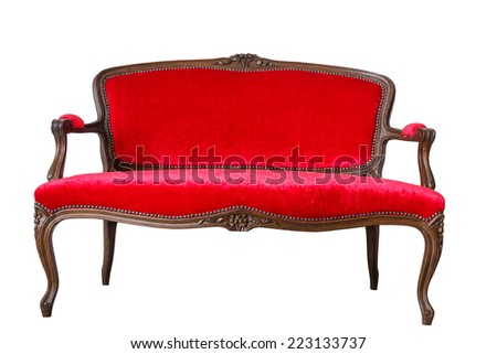 Luxury Red Vintage Sofa On White Background