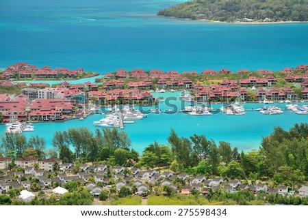 Luxury residency and marina at Eden Island, Seychelles.  - stock photo