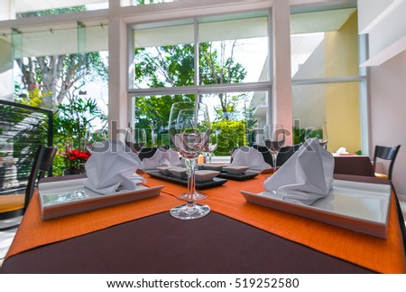Luxury resort restaurant. Interior design.