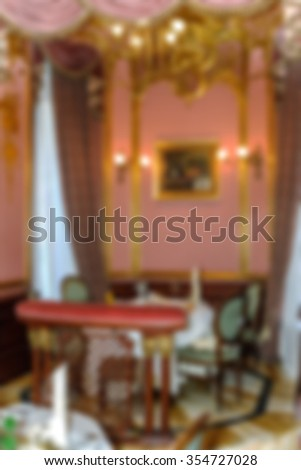 Luxury restaurant abstract blur background with bokeh image