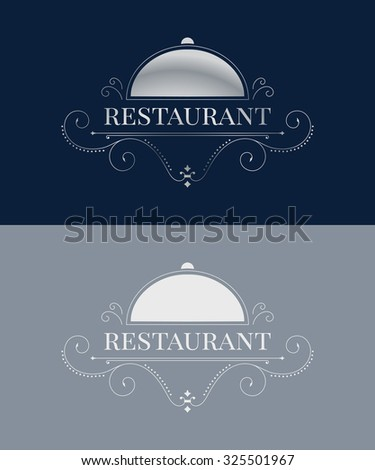 Luxury restaurant logo template. Elegant calligraphic ornament pattern. Raster illustration for your restaurant business. Raster copy of vector file.