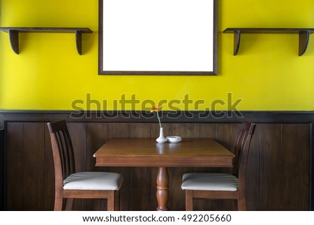 Luxury Restaurant Set Yellow Color Wall Stock Photo (Royalty Free ...