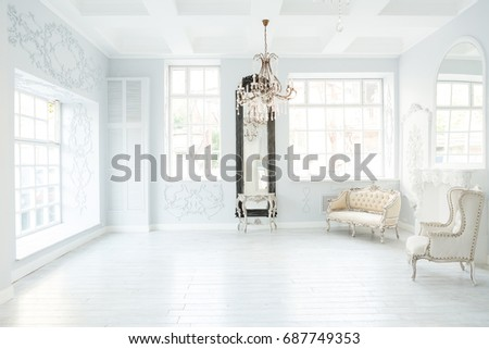 Luxury rich living room interior design with elegant classic furniture and wall decorations. Large light