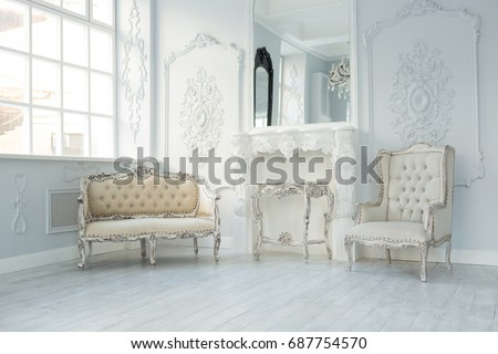 Luxury rich living room interior design with elegant classic furniture and wall decorations. Large light & Luxury Rich Living Room Interior Design Stock Photo (Safe to Use ...
