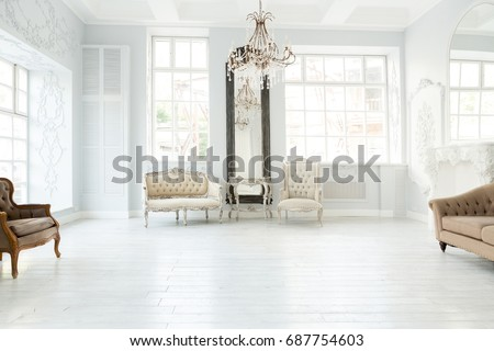 Luxury rich living room interior design with elegant classic furniture and wall decorations. Large light & Luxury Rich Living Room Interior Design Stock Photo (Royalty Free ...