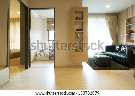 luxury room in condominium with living corner.