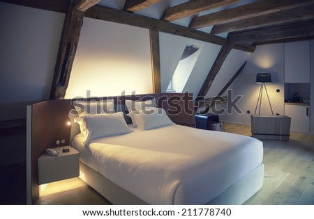 luxury room in old antique building  - stock photo