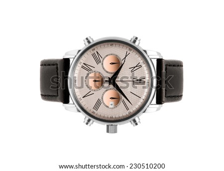 luxury silver man watch against white background - stock photo