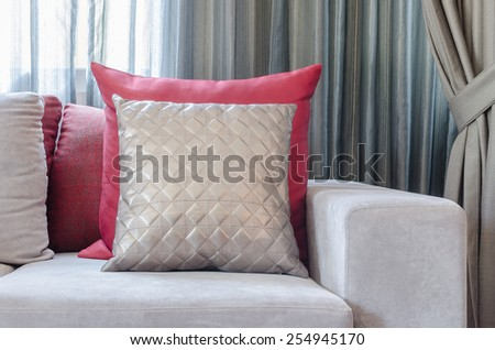luxury sofa with pillows in living room at home