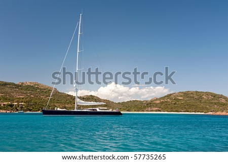 luxury sport yacht anchored in bay near Corsica, France - stock photo
