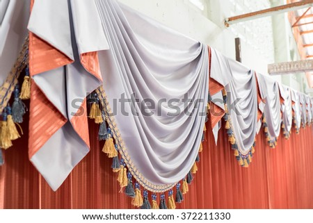 luxury stage curtains. close up. - stock photo