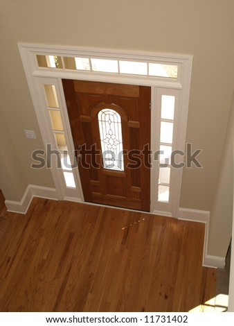 Luxury Stained Glass Door with Arch perspective - stock photo
