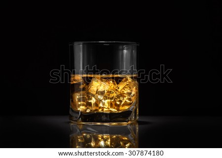 Luxury still life of whisky glass. Copyspace - stock photo
